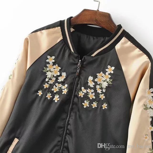 Giacca da donna in raso con ricamo floreale Cappotto da baseball uniforme da donna Autunno giacca da strada invernale Giacche da baseball casual