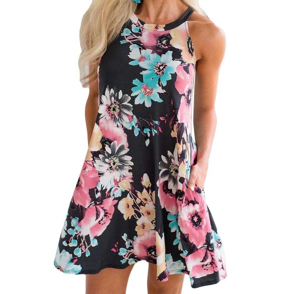 e71a5756ab summer dress 2019 Loose Women's Casual Sleeveless Tank dress Shift Halter  Shift Floral Pocket Midi Dresses vestidos de festa