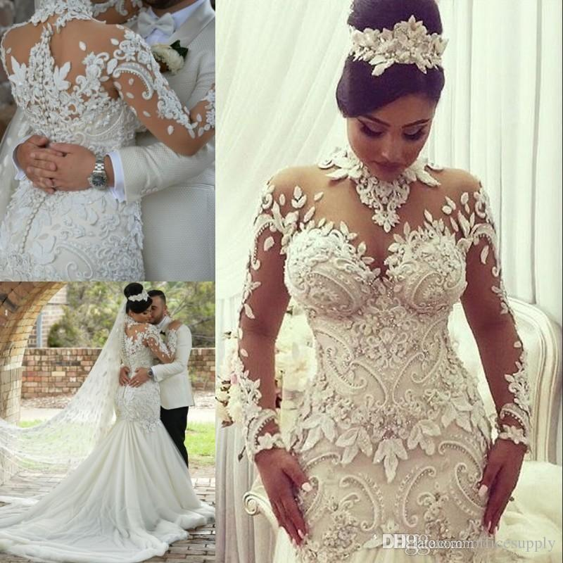 c1da2186a4ca7 2019 Arabic Mermaid Trumpet Wedding Dresses High Neck Long Sleeves 3D  Floral Appliques Lace Tiered Skirts Bridal Gowns Sweep Train Wedding Dresses  For Sale ...