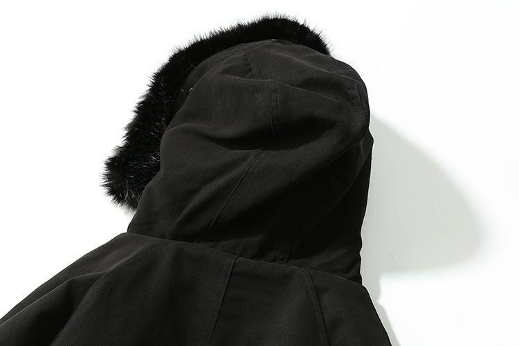 TKPA Mens Trench Coats Male Long Black Hooded Thicken Jackets Winter Warm Fur Fleece Coats Zippers Up