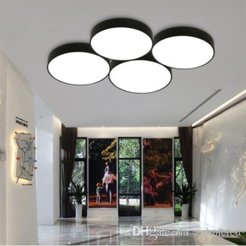 Moderne einfache ultradünne 5 cm led deckenleuchte kreisförmige wohnzimmer  lampe schlafzimmer schwarz / weiß deckenleuchten zimmer büro lampe