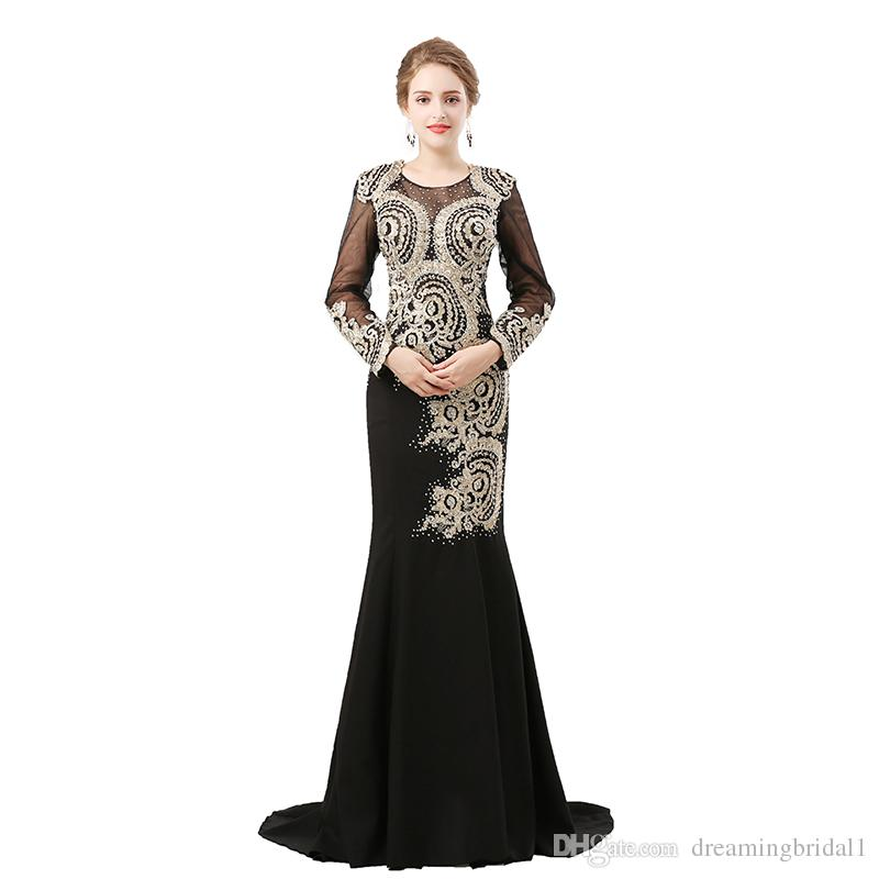 Formal Long Sleeve Evening Dresses 2018 New Black White Lace