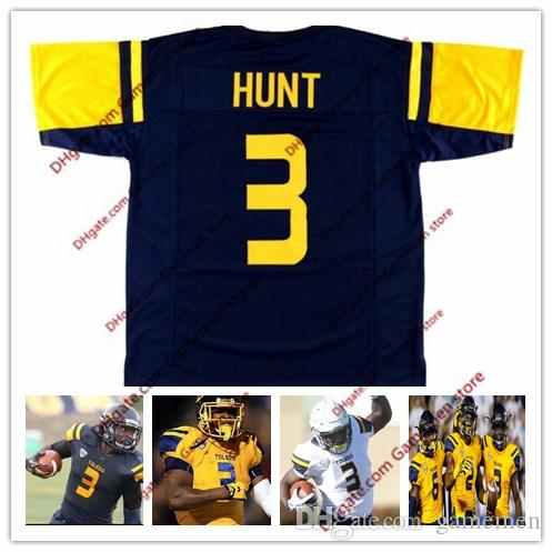 fbb2fec6b Custom NCAA  3 Kareem Hunt Toledo Rockets  2  6 Navy Blue Gold Yellow White  College Football Stitched Alumni Mens Jerseys S 3XL UK 2019 From Gamemen