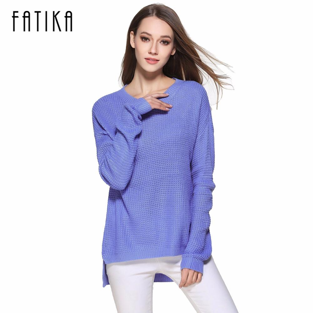 FATIKA 2017 New Fashion Women's Pullover Front Short Back Long O-neck Side Slit Knitted Sweaters Casual Loose Oversized Tops