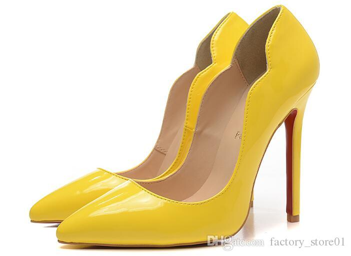 Sexy Hot Womens 12cm High Heels Black Patent Leather With Spikes Luxury Red Bottom Pumps Yellow Red Nude Ladies Designer Wedding Dress Shoes