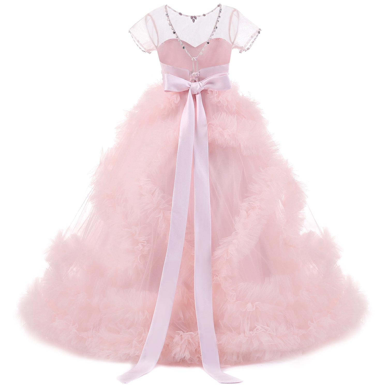 Girls Pageant Dresses Bow Flower Girl Weddings Ball Gown Princess Tulle  Children Clothes Fashion Kids Clothing New Girls Dress Online with   71.8 Piece on ... a900bf345e5f