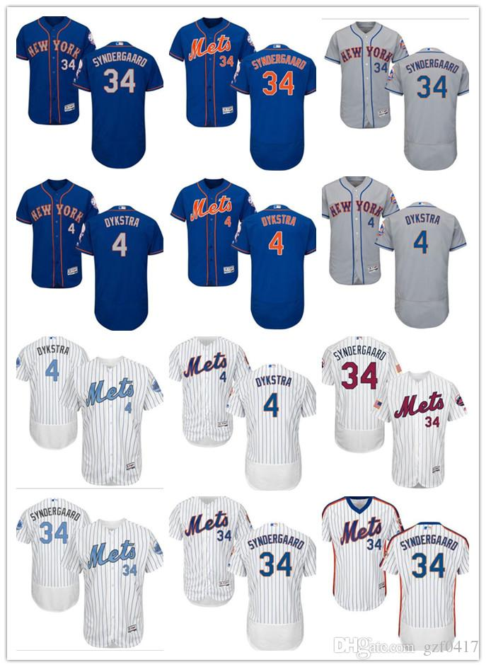 ... wholesale 2018 custom mens women youth new york mets jersey 34 noah  syndergaard 4 lenny dykstra fefc6ccfe