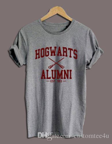 14f80ade Hogwarts Alumni Harry Potter Logo Black Gray White Unisex Men Woman T Shirt  Tee T Shirt O Neck S XXXL Cotton Short Sleeve Man Tees Shirts Su Funny  Shirt ...