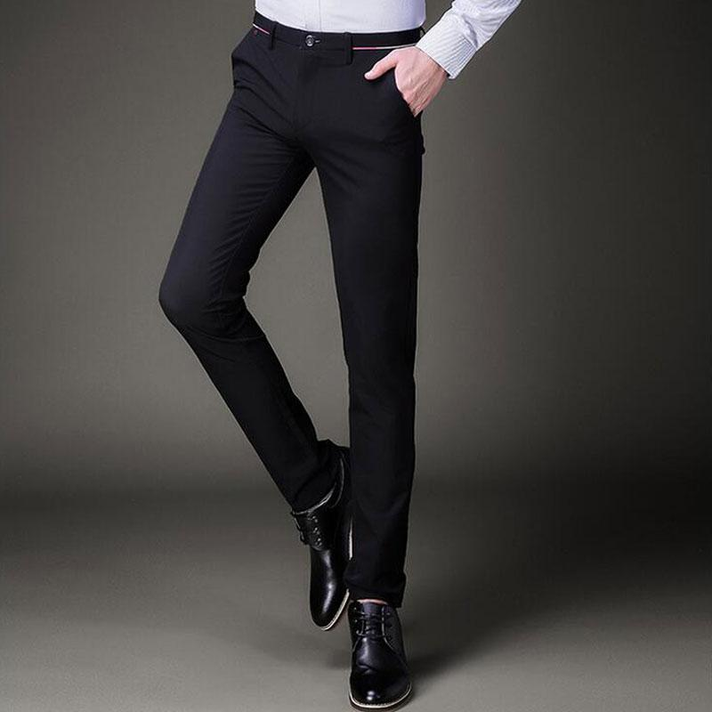 2019 Mens Slim Fit Skinny Black Suits Pants Fashion Korean Male Work