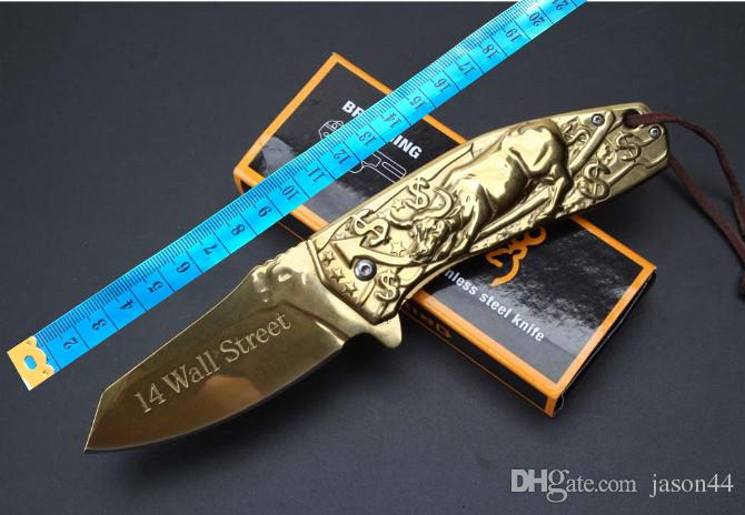 Five Taurus art relief Camping Hunting Survival Knife Clasp EDC Tools Outdoor high hardness curved blade folding gift knife wholesale