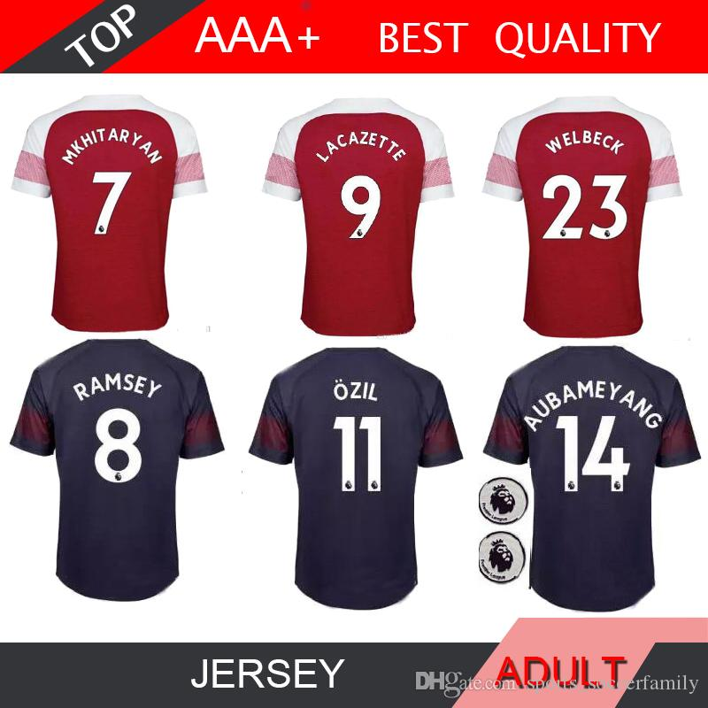 ba8e09208e8 2018 2019 FC ARS Gunners LACAZETTE MKHITARYAN Jersey Adult Black ...