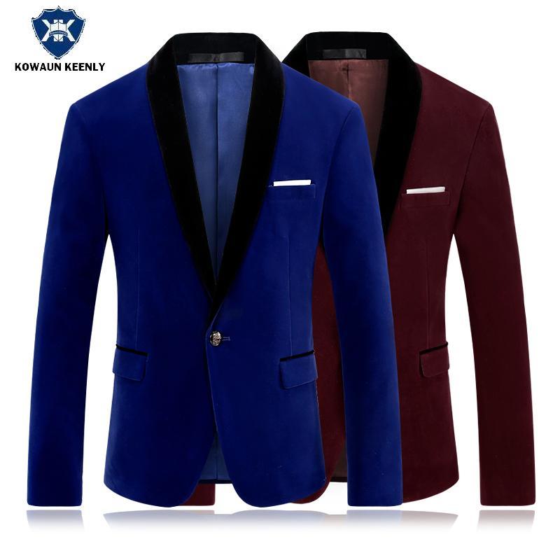 fe240fe014641 Acquista Giubbotto In Velluto Blu Royal Da Uomo Blazer Rosso Giacca Da Uomo  Ultimo Cappotto Abiti Da Cerimonia Uomo Classico Abito Da Sposo In Velluto  Di ...