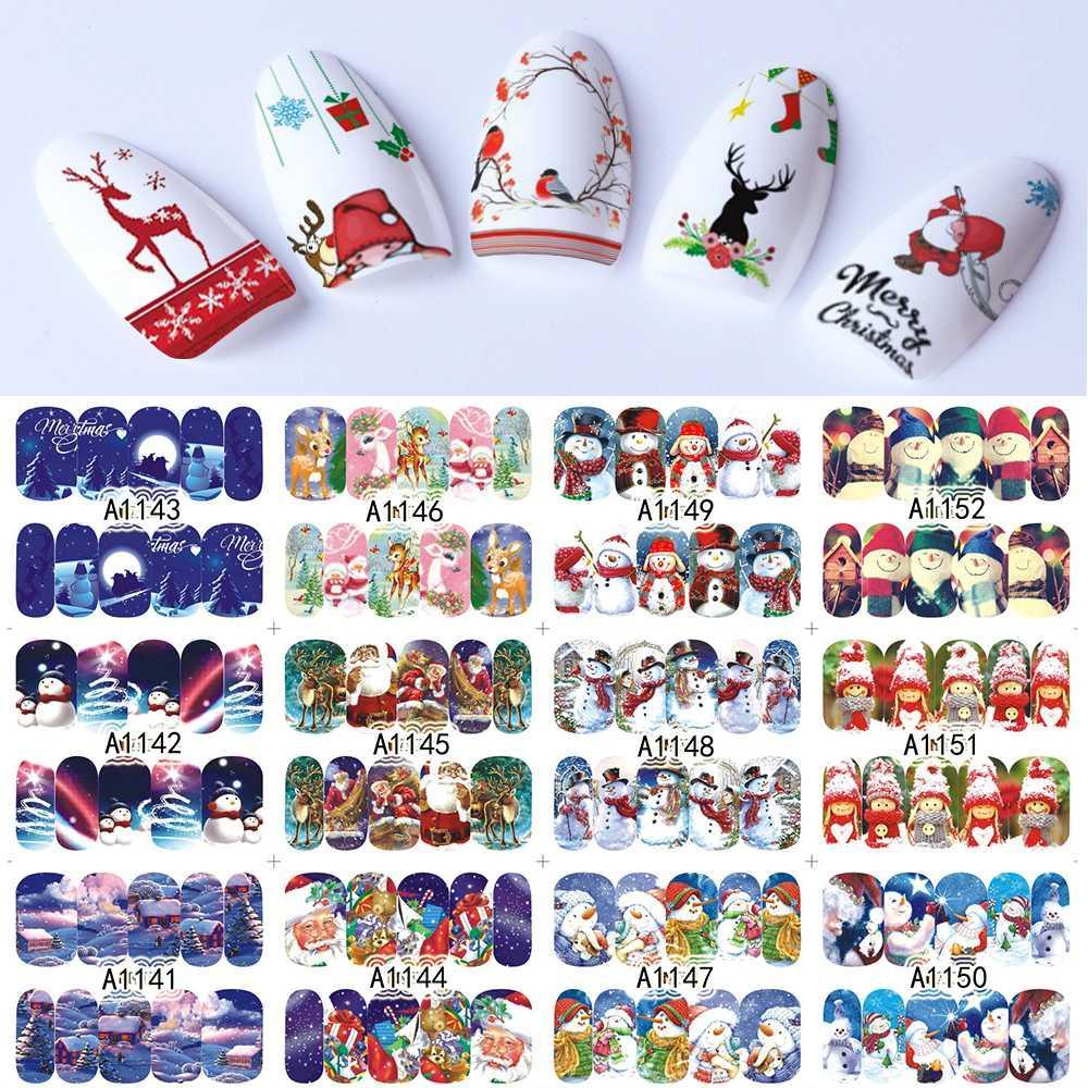 Großhandel 48 Blätter Nail Sticker Set Weihnachten Winter ...