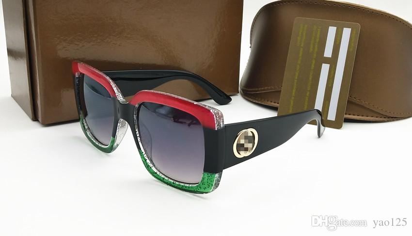 Compre Diseñador De Marcas Europeas Y Americanas. Gafas De Sol Con Montura  Tricolor Roja Y Verde De Montura Grande Clásica Para Damas 93bf450213d7
