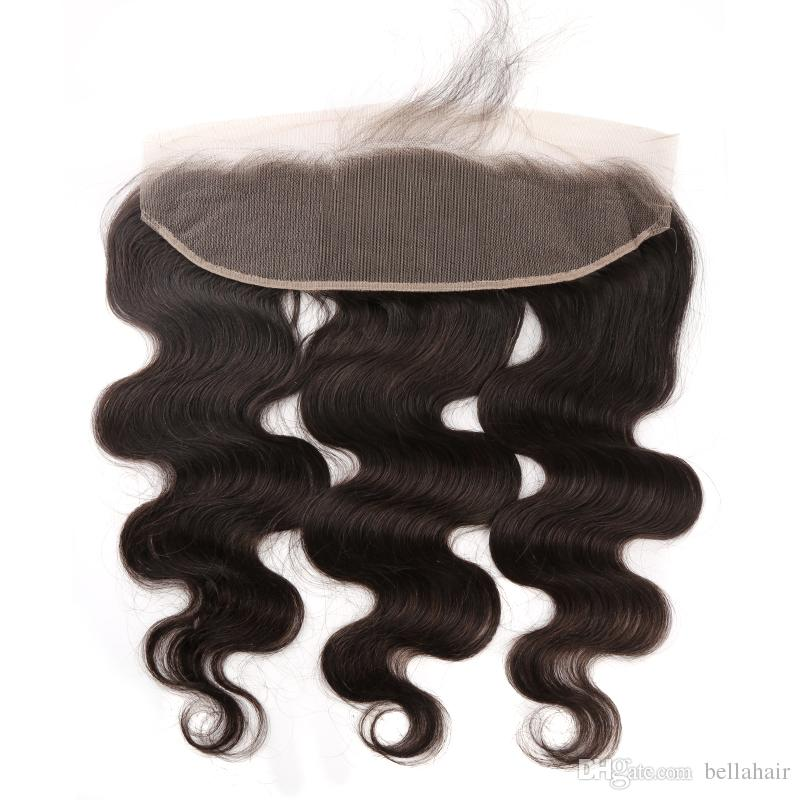 Bella Hair Lace Frontal Body Wave Human Virgin Hair 13x4 Mongolian Brazilian Ear To Ear Closure with Baby Hair Natural Color Bleached Knots