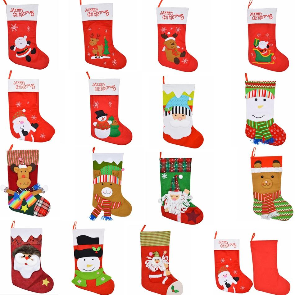 15 Styles Christmas Stocking Socks Gift Bag Santa Claus Snowman Elk Pendant Xmas Ornaments Gifts Christmas Decoration Gga770 60pcs