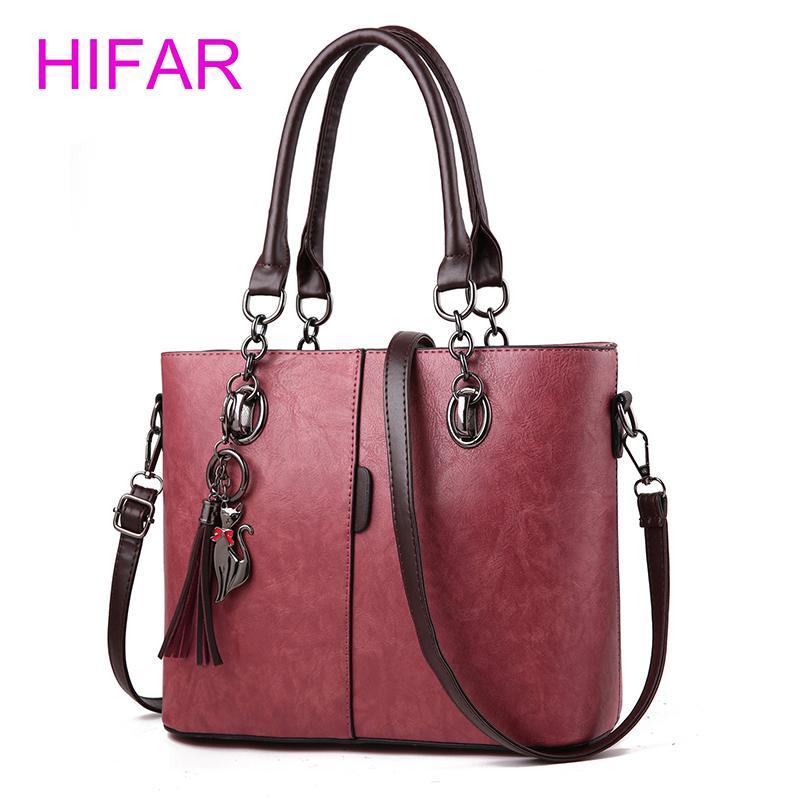 b1c8efff252c Women Leather Handbag Vintage Shoulder Bag Female Casual Tote Bags ...