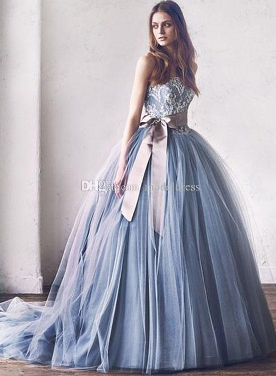 2018 New Puffy Dusty Blue Quinceanera Dresses Sweetheart Appliques Ball Gown Ribbon Sweep Train 16 Sweet Girls Prom Party Gowns Customized