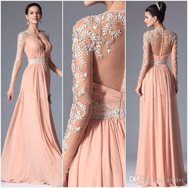 Sexy Peach Long Sleeve Evening Dresses 2018 Illusion Beaded Lace Key Hole Party Gowns Semi Formal Dress Long Prom Dresses for Women USA UK