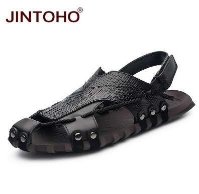 5e8f800824 Compre JINTOHO Tamanho Grande Sapatos De Couro Genuíno Dos Homens Sandálias  Sapatos De Verão Homens Sapatos De Praia Moda Masculina Sandália De Verão  ...