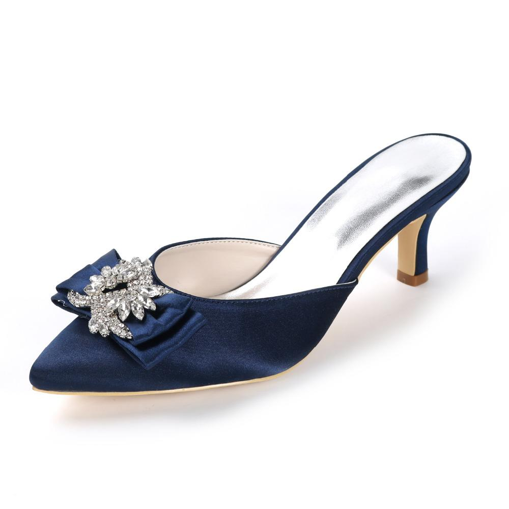 dc590ec3d9c Wholesale Lady s Mules Satin Dress Evening Shoes with Crystal Bow ...