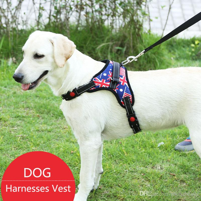 Harnesses Hot Nylon Heavy Dog Pet Harness Collar Padded Extra Big Large Medium Small Dog Harnesses Vest With Rope Hand Strap Dog Supplies