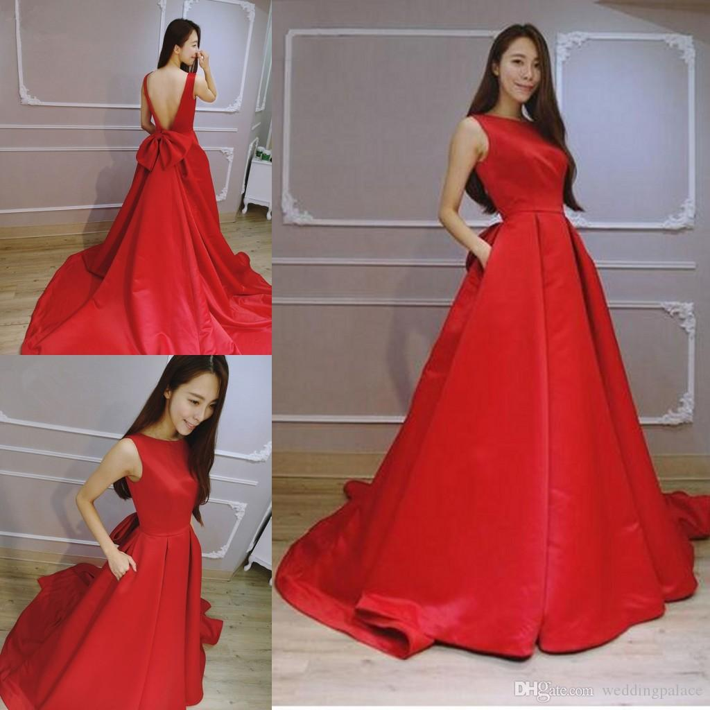 b92edecce8d Elegant Red Scoop Neck A Line Prom Dresses Satin Court Train Evening Dresses  Party Gowns Robe De Soiree Backless Special Occasion Dresses Plus Size Prom  ...
