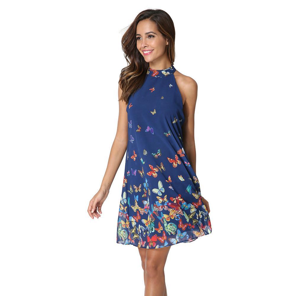 b17190eaba7b4 New ladies fashion summer sexy sleeveless hanging neck brand dress high  quality women chiffon printing butterfly dress