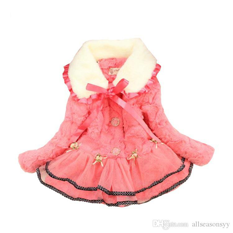 7a40e50f7 Winter Baby Girls Faux Fur Lace Flower Coat Party Pageant Thicken ...