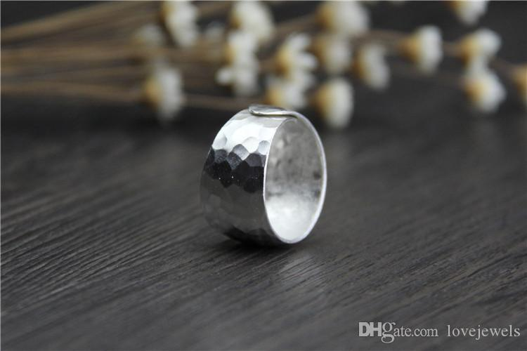 designer jewelry fashion charms 999 sterling silver rings Handmade Simple Wide ring ladies percussion surface vintage wholesale china direct