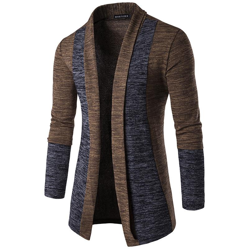 2017 autumn and winter new men's classic cuffs buttonless patchwork color cardigan turn down collar slim sweater coat men