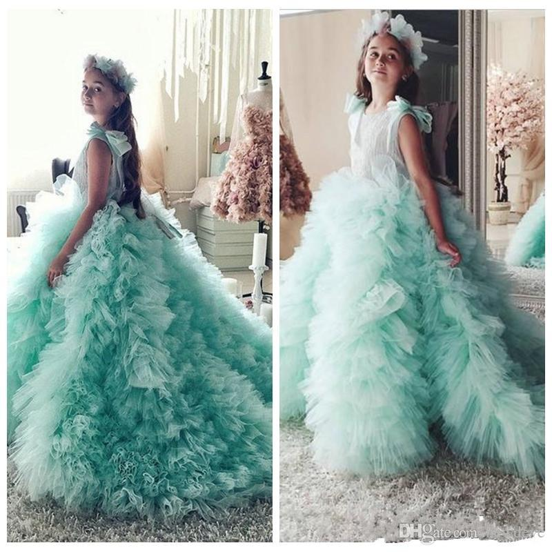 c844ccce01f76 Mint Green Lace Ball Gown Puffy Girls Pageant Dresses Tulle Skirt Flower  Girls Dresses Custom Made Kids Prom Dress