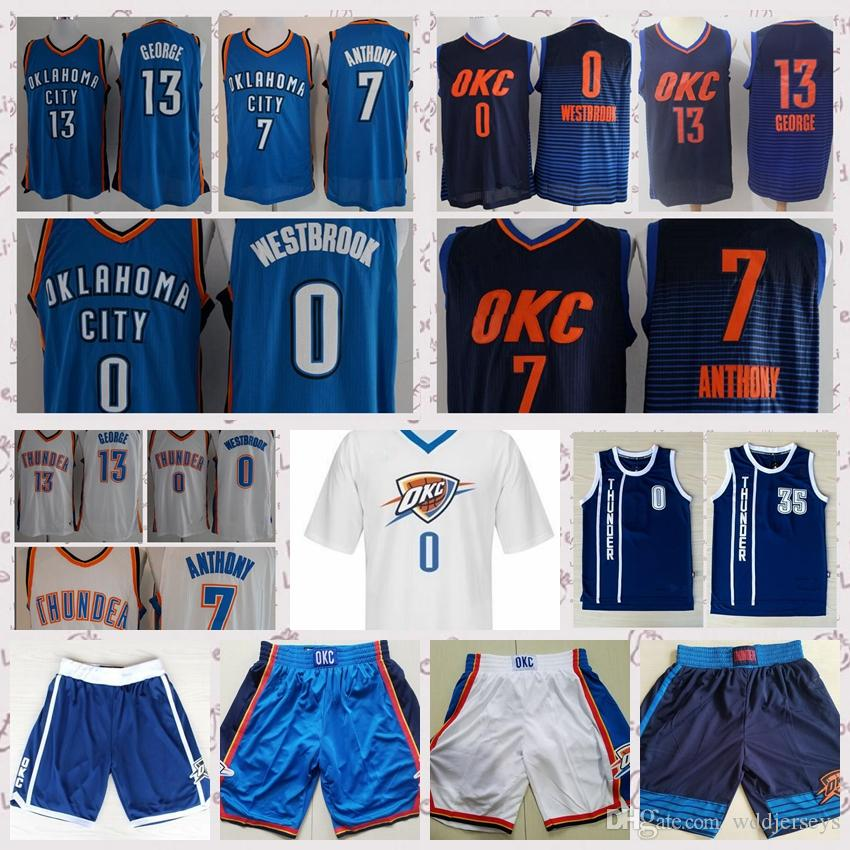 quality design a7ab8 bd9a0 Men's Oklahoma City 13 Paul George 0 Russell Westbrook Jersey 7 Carmelo  Anthony 2018 New Basketball Jerseys And Shorts