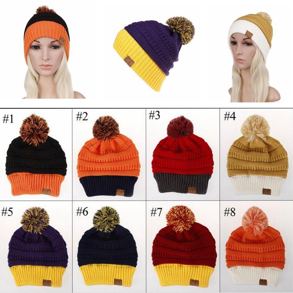 Compre Mujeres Del Invierno De Punto Sombreros Cc Pom Crochet Gorro ...