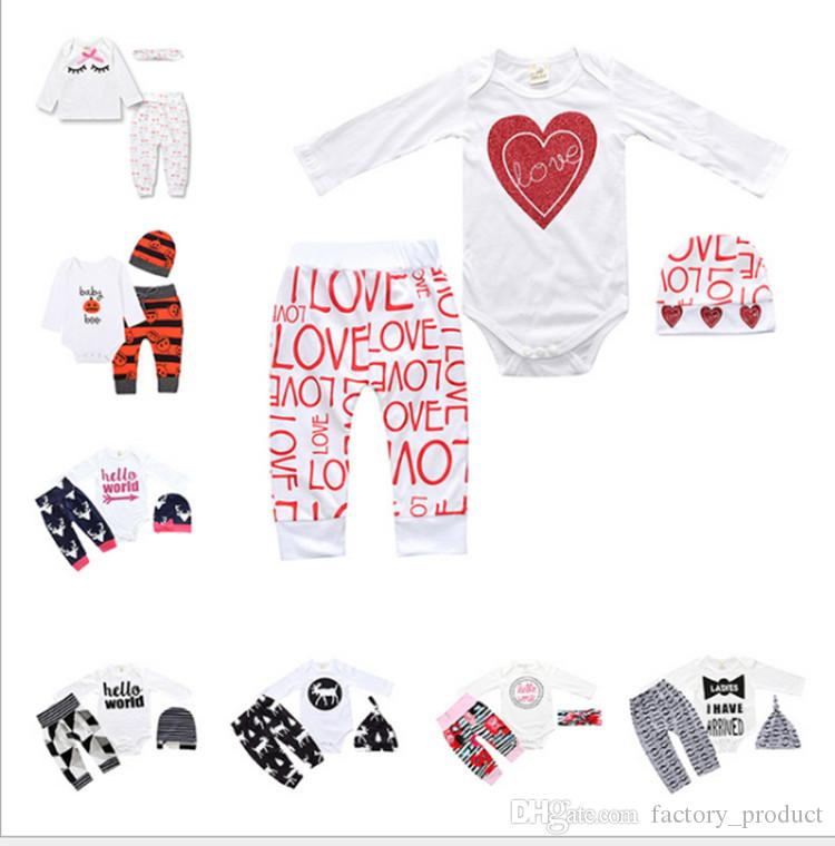 876c62d91824 INS Valentine s Day Baby Girl Love Heart Romper set Pants hat hair band  Tollder boys letter print Bodysuits Jumpsuits pajamas Sleepwear hot