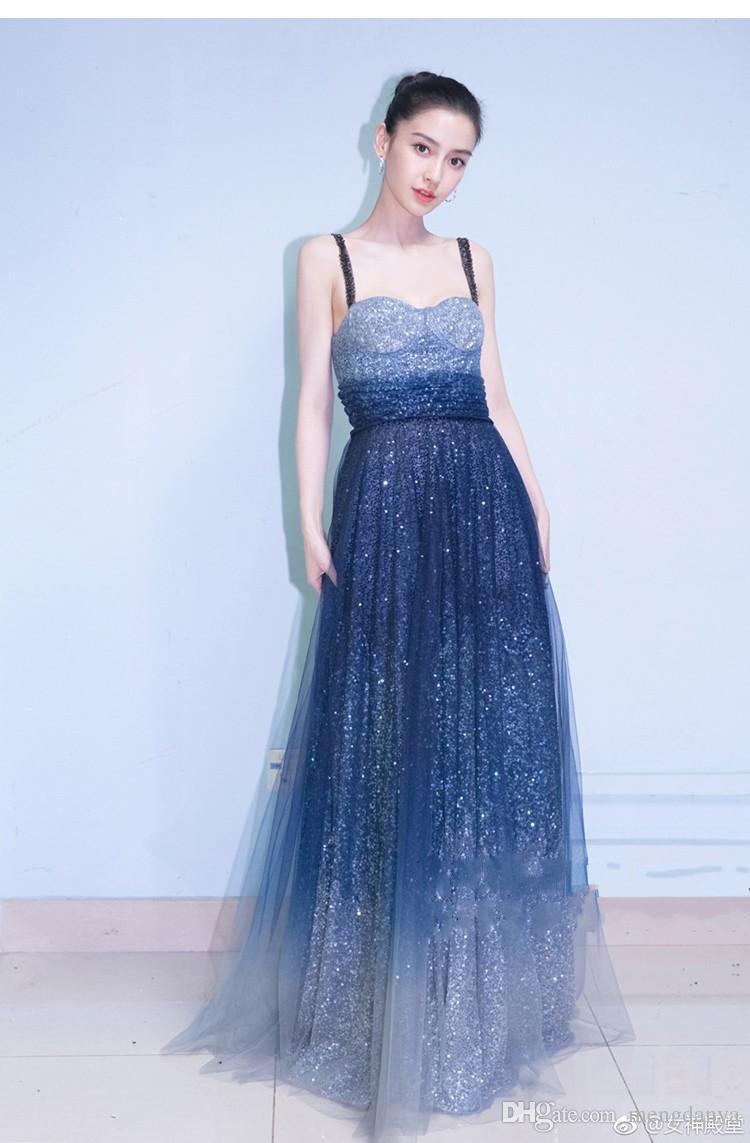 Großhandel Langes Blaues Kleid Partykleid Sexy Ärmelloses Partykleid ...