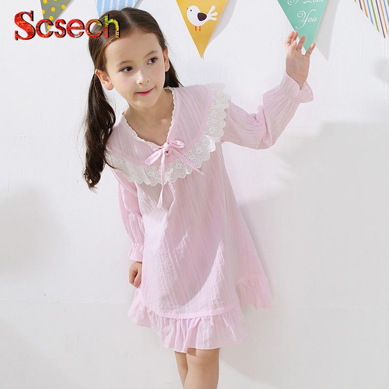 Girls Princess Nightgowns Lace Long Sleeve Ruffles Cute Nightdress Knitted Pajamas  Sleepwear Children Kids Nightgown SSE09 Girls Pjs On Sale Christmas ... a205c73d2