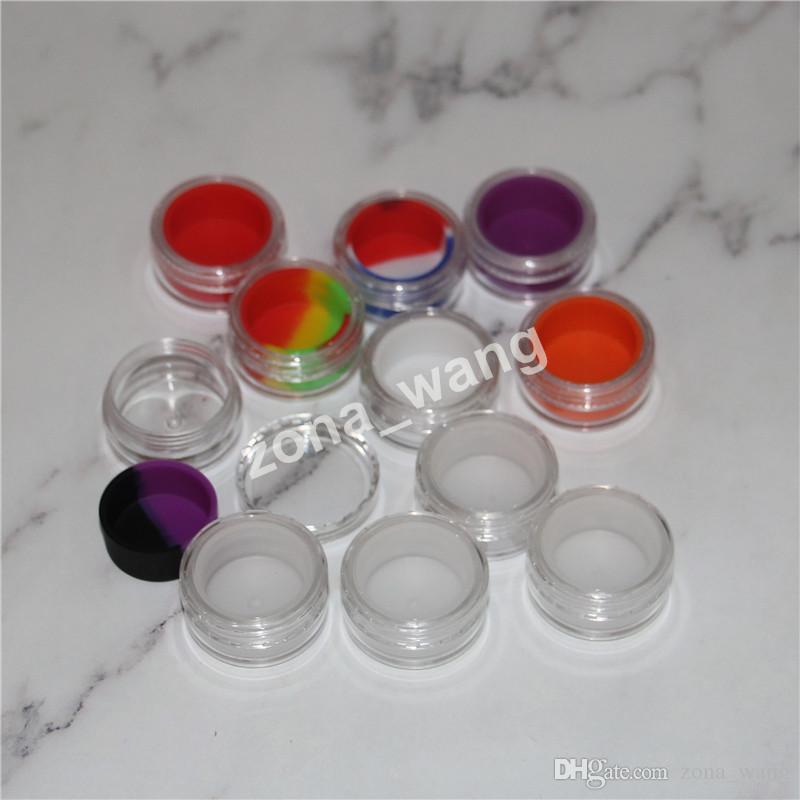 Transparente bho recipientes De Plástico 5 ml acrílico dab caixa de recipientes para recipientes de cera bho e-cig limpar frascos de óleo de silício