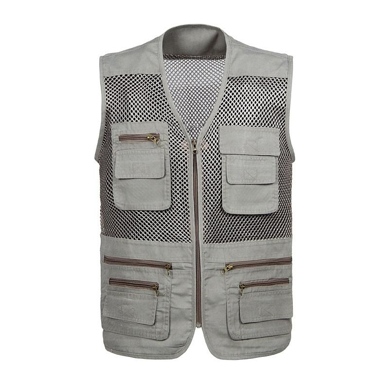 Multi-pockets Out door Vest Men Professional Photography Cameraman Mesh Vest for Hunt Director Reporter Vests