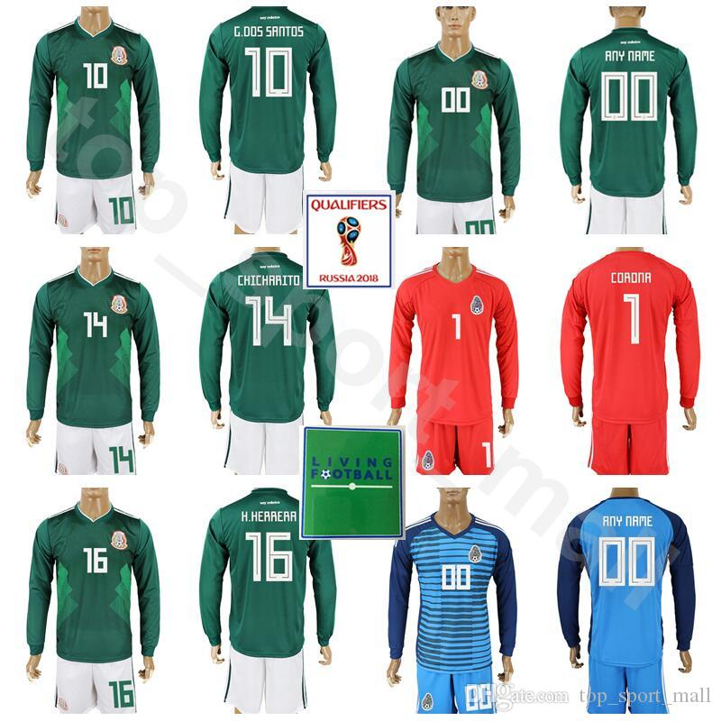 4e2ac710b Acquista Maglia Manica Lunga Mexico 2018 Maglia Da Calcio Set 10 Giovani  Dos Santos 14 Maglia Da Calcio Chicharito Hernandez Kits Con Short 16  Hector ...