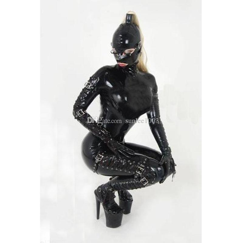 Latex Rubber Women's Play Suit Full Cover Latex Bodysuit Sexy Catsuit Including Removable Eye Mask with Tied Straps on the Arms and Legs