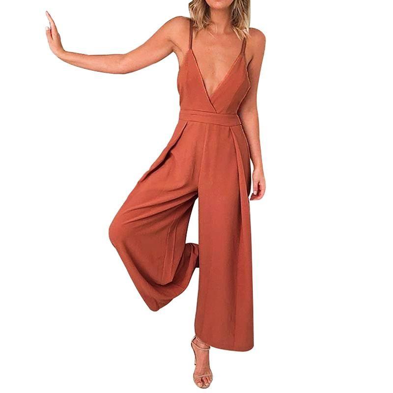 b3e1762b27d 2019 Split Wide Leg Romper Women Backless Print Jumpsuit Summer Jumpsuit  Halter High Waist Short Overalls Lace Up Sexy V Neck From Densou