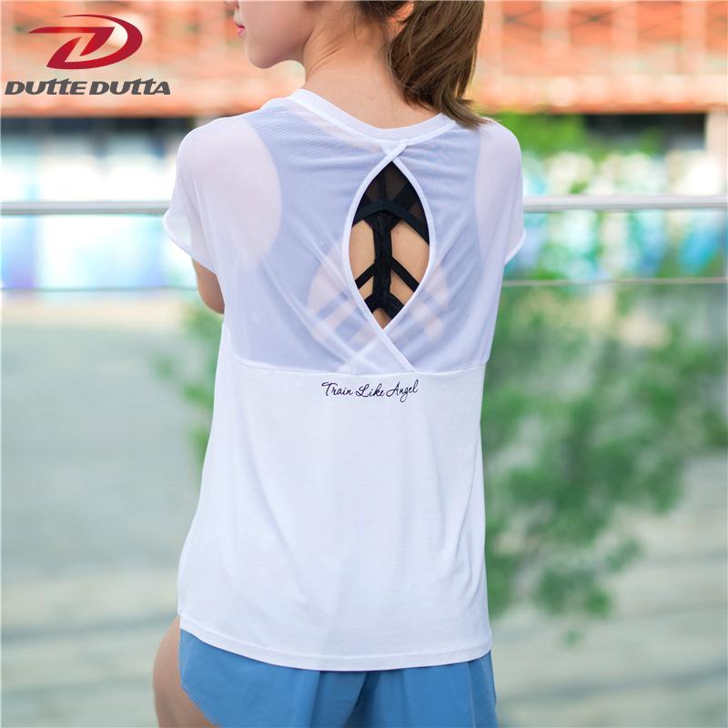 b27cae3bdbf94 DutteDutta Sexy Yoga Top Patchwork Thin Mesh Loose Running Fitness ...