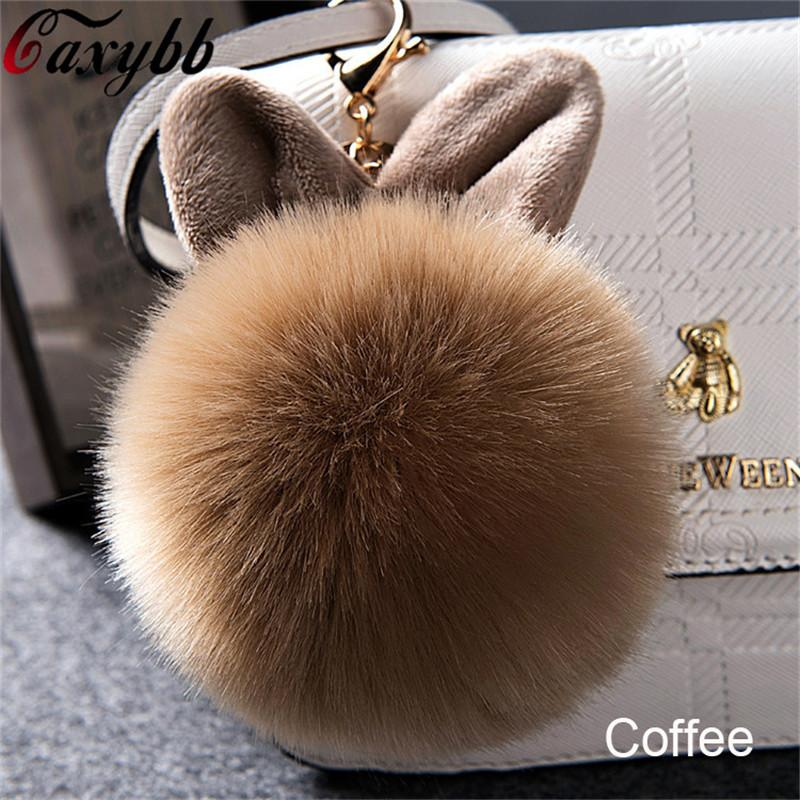 4fdb4ead0bec 2018 Fur Pom Pom Keychains Fake Rabbit Fur Ball Key Chain Porte Clef ...
