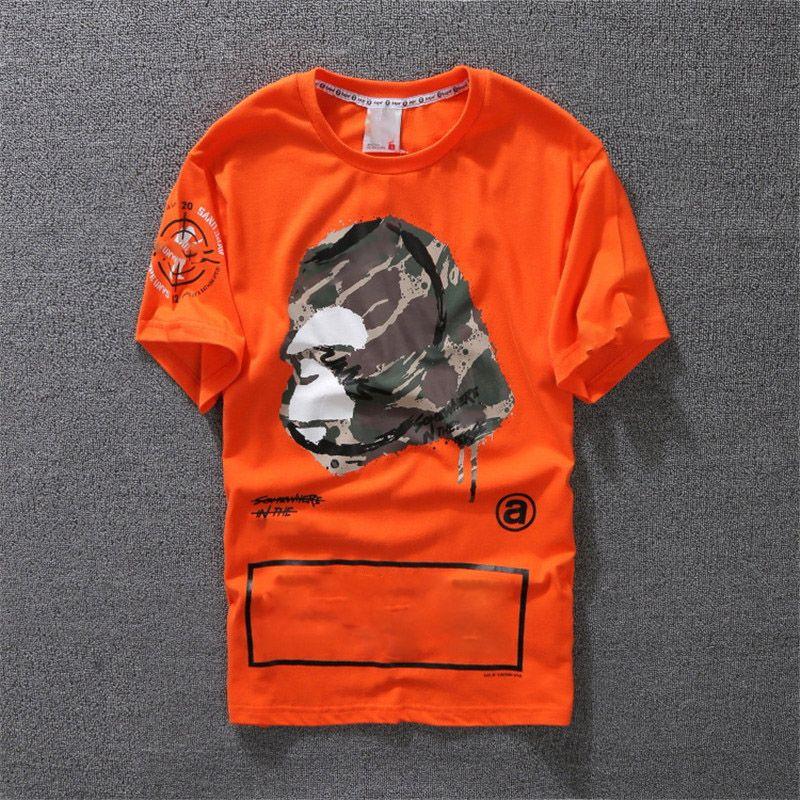 ad0f9856 2018 New Fashion Casual T Shirt Mens Clothing Designer Shirt Black White  Orange Cotton Blend Crew Neck Short Sleeve Cartoon Print Size S XXL Fashion  Shirt ...