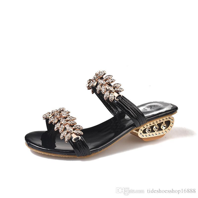 5f08e820584 Slippers Women Summer Shoes 2018 Slides Women Beach Flip Flops Women s  Rhinestones Shoes Woman Slippers Summer Sandals Ladies Slip On sandal