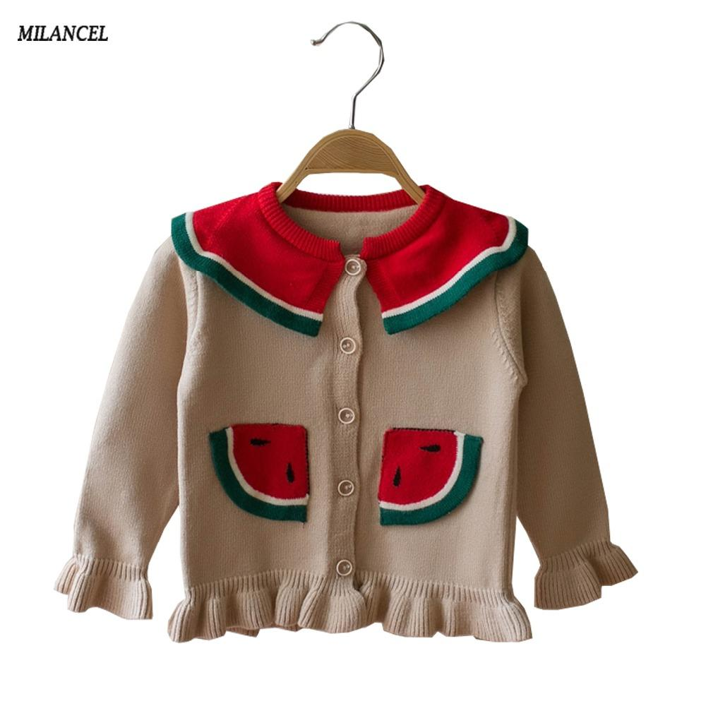 9ccdf50bc MILANCEL 2018 New Girls Sweaters Knitted Girls Cardigans Watermelon ...