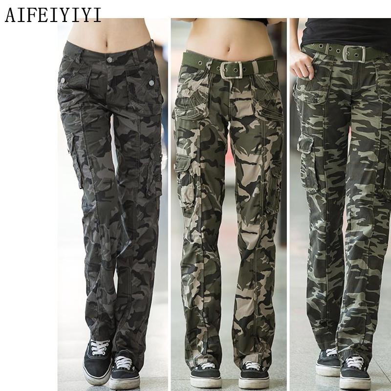 653b96598d9 2019 Summer Autumn Women Workout Casual Military Camouflage Cargo Jeans  Pants Denim Overalls Ladies Straight Multi Pocket Trousers Y1891406 From  Zhengrui01