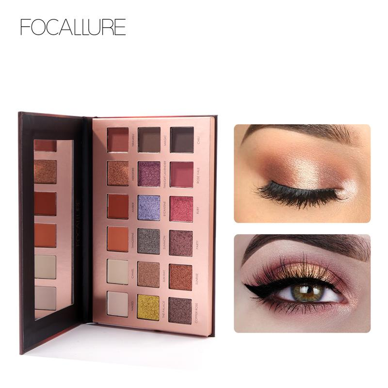 FOCALLURE 18 colori Glitter Eyeshadow Highly Pigment Facile da indossare Shimmer Palette Cosmetici Glitter Eye Shadow Makeup Beauty