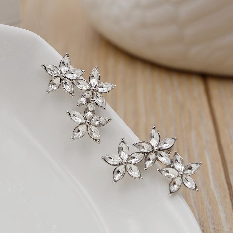 Pendientes de cristal de la manera nuevas para las mujeres oído de la flor clip de la joyería Pendiente No hay tornillo Ear Cuff Bijoux regalos elegantes